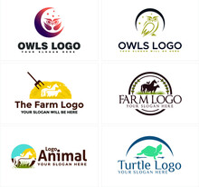 Line Art Badge Logo Design Horse And Owl With Turtle Suitable For Animal Zoo Pet Shop Animal Lovers Livestock Farm