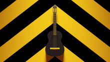 Yellow Black Guitar Acoustic Strings Old Retro Audio Music With Yellow An Black Chevron Pattern Background 3d Illustration Render