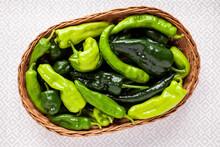 Different Green Chili Pepper Species: Cubanelle, Poblano, Anaheim, Guajillo, Chilhuacle In Wicker Basket.