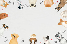 Frame With Dogs Vector On White Background
