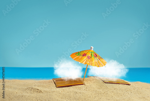 Tela Beach umbrellas and sunbeds on the sand