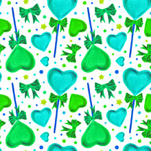 Watercolor Seamless Pattern With Heart Lollipops And Green Bows. Bright Illustrations For Gift Paper, Packaging, Textile Design, Stationery, Scrapbooking And Patchwork. Valentine's Day White