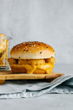 Chicken Nuggets And Mustard BBQ Sauce Burger