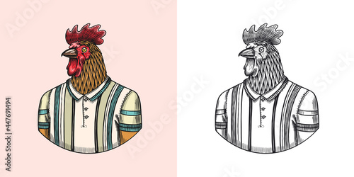 Rooster character in a sports t-shirt Fototapet