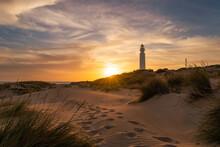 Trafalgar Lighthouse At Sunset, Canos De Meca, Cadiz, Andalusia, Spain