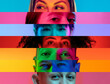 Leinwandbild Motiv Collage of close-up male and female eyes isolated on colored neon backgorund. Multicolored stripes. Concept of equality, unification of all nations, ages and interests