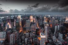 Vue Aérienne De Nuit Sur La City De New York.