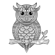 Owl. Adult Antistress Coloring Page. Black And White Illustration For Coloring Book. Vector Illustration.