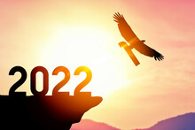 2022 New Year Concept With Eagle Bird Flying Away And Holding Number 1 On Sunset Sky Background At Top Of Mountain.