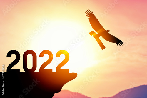 2022 new year concept with eagle bird flying away and holding number 1 on sunset sky background at top of mountain Fototapet