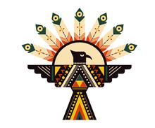 Tribal Cross Feather Cartoon Flat Illustration, Tribal Concept Art Vector, Print Ready T Shirt Logo Icon Design