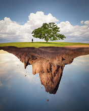 Man Standing Under A Tree On A Floating Plot Of Land, USA