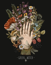 Herbology Bouquet With A Woman Hand, Green Witch Illustration, Herbs, Mushroom, Amanita, Flowers.