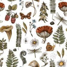 Vintage Woodland Nature Seamless Pattern. Amanita Mushroom, Fern, Forest Plants Witchcraft Wallpaper