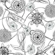 Patrón De Flores Sobre Fondo Blanco, Crisantemos, Rosas, Ramas
