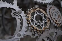 Bicycle Spoke Artistic Creation Sidewalk Sculpture