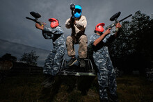 Company Of Men Playing Paintball