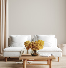 Wall Mock Up In Light Simple Interior, Scandi-Boho Style, 3d Render