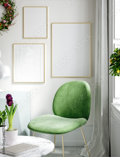 Furnished modern home interior in light pastel colors with poster mockup, 3d render