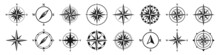 Vintage Marine Wind Rose, Nautical Chart. Monochrome Navigational Compass With Cardinal Directions Of North, East, South, West. Geographical Position, Cartography And Navigation. Vector Illustration.