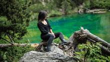 Italian Woman Admire The Views Of Mont Blanc, Lac Vert