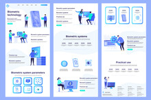 Biometric Technology Flat Landing Page. Biometrics Authentication And Identification Corporate Website Design. Web Banner Template With Header, Middle Content, Footer. Vector Illustration With People
