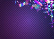 Kaleidoscope Effect. Neon Background. Purple Metal Sparkles. Iridescent Confetti. Retro Carnaval Decoration. Unicorn Art. Laser Burst. Webpunk Foil. Violet Kaleidoscope Effect