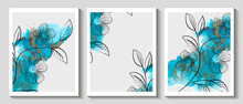 Abstract Art Design, Set Of Modern Creative Minimalist.  Background Marble Texture. Alcohol Ink. Vector Illustration.
