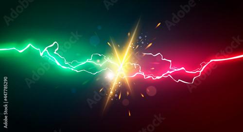 Canvastavla Vector Illustration Energy Lightning For Power Battle