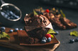 Chocolate muffin. Muffin with chocolate and fruits. Fruit muffin.