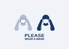 Wear A Face Mask: Masks Required For Entry Sign. Please Put On Your Mask. Pictogram Person Icon. Editable Stroke Illustration