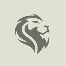 Majestic Male Lion Face Icon Symbol. Premium Wild African Cat Animal Head Vector Illustration.