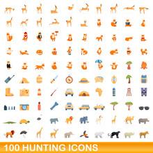 100 Hunting Icons Set. Cartoon Illustration Of 100 Hunting Icons Vector Set Isolated On White Background