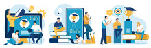 Three Vector Illustrations On The Topic: Distance Education, E-learning.