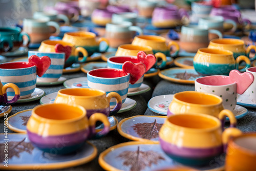 ceramic coffee cup sets in the shop Fototapet