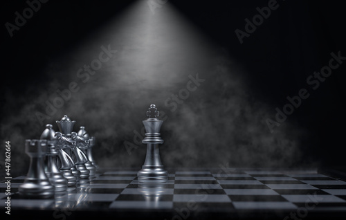 Chess board game between king silver team and king golden team  is stategy game as business challange competitive game ,this business stategy plan concept Fototapet