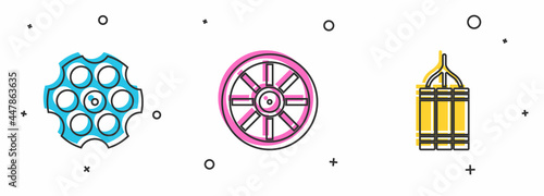 Fotografie, Obraz Set Revolver cylinder, Old wooden wheel and Dynamite bomb icon