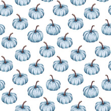 Blue Pumpkin On A White Background Seamless Pattern Vintage