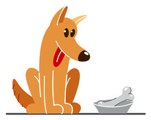 Funny Cartoon Dog Sitting Near His Bowl Satiated And Happy Vector Flat Style Illustration Isolated On White, Cute And Adorable Domestic Animal Friend.