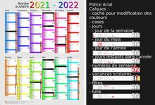 Calendrier Scolaire 2021-2022, Calques, Vacances Scolaires, Saints, 12 Mois