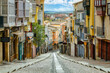 Famous street of Zamora in Spain with colorful houses and typical balconies. Castilla Leon.