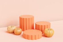 Podiums Or Pedestals With Pumpkins For Products Display Or Advertising For Autumn Holidays On Beige Background, 3d Render