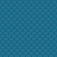 Dark Blue Scallops Seamless Pattern. Vector Art