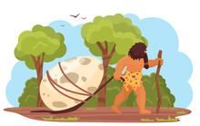 Primitive Man With Prehistoric Dinosaur Egg Vector Illustration. Cartoon Stone Age Hungry Hunter, Caveman Character Dragging, Hunting Dino Egg, Prehistory Ancient Jurassic Era Scene Isolated On White
