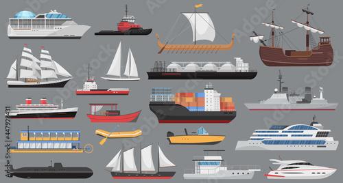 Obraz na plátně Ship set, sea ocean transport vector illustration