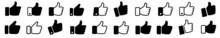 Set Thumb Up Icon Vector. Finger Up Symbol. I Like Sign Isolated On White Background - Vector Illustration