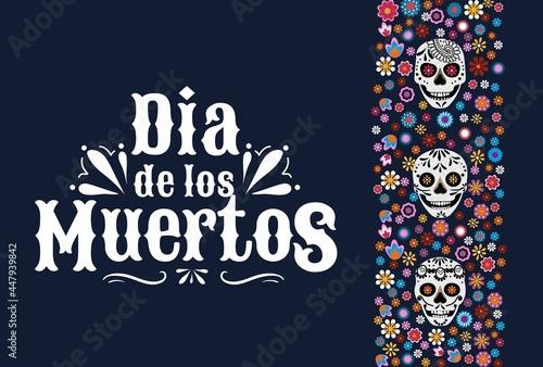 Fototapeta Dia de los Muertos greeting card with smiling skulls and mexican flowers