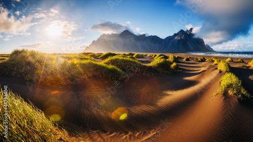 Fotografía Unique view of Stokksnes cape on sunset