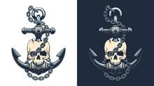 Pirate Skull With Anchor And Chain. Sailor Skeleton Emblem. Vector Illustartion.