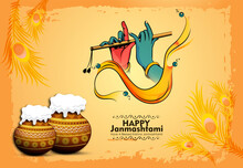 Celebrating Happy Janmashtami Festival Of India With Llustration Of Lord Krishna And Dahi Handi Competition With Text In Hindi Meaning 'Krishan Janmashtami'- Vector Background